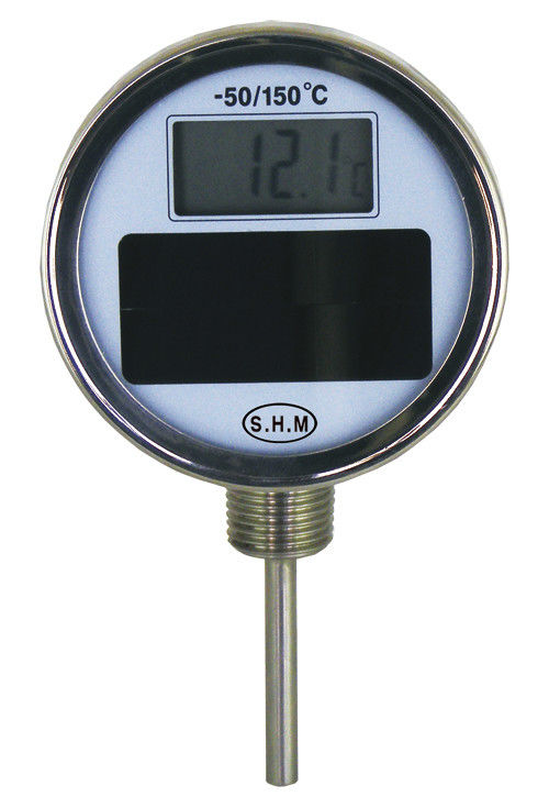 Bimetal Solar 3'' Round Dial Adjustable Angle Face Digital Thermometer With Acrylic Len